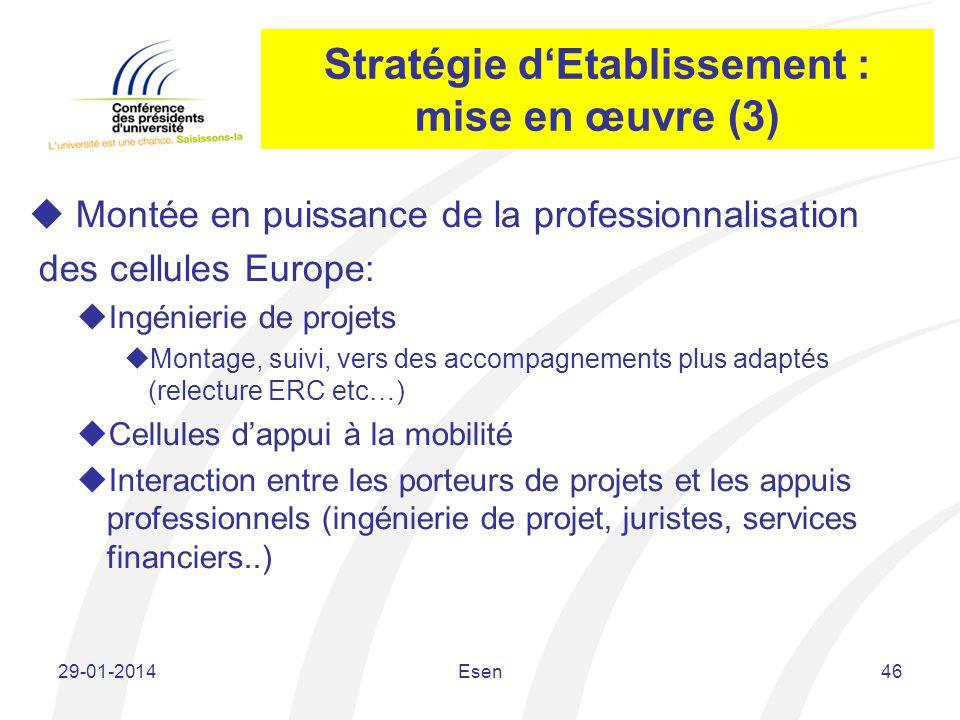 Stratégie dEtablissement : mise en œuvre (3) Montée en puissance de la professionnalisation des cellules Europe: Ingénierie de projets Montage, suivi,