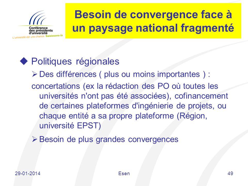 Besoin de convergence face à un paysage national fragmenté Politiques régionales Des différences ( plus ou moins importantes ) : concertations (ex la