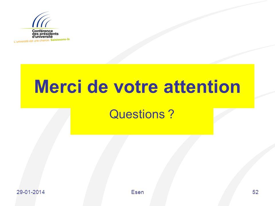 Merci de votre attention Questions ? 29-01-2014Esen52