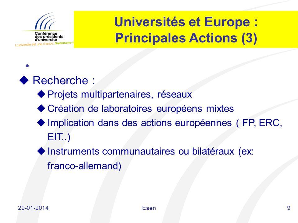 Universités et Europe : Principales Actions (3) 9 Recherche : Projets multipartenaires, réseaux Création de laboratoires européens mixtes Implication