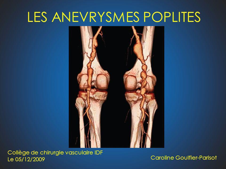 LES ANEVRYSMES POPLITES Caroline Goulfier-Parisot Collège de chirurgie vasculaire IDF Le 05/12/2009
