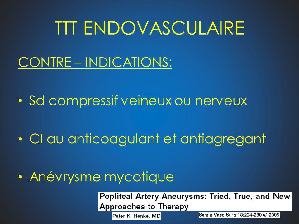 TTT ENDOVASCULAIRE CONTRE – INDICATIONS: Sd compressif veineux ou nerveux CI au anticoagulant et antiagregant Anévrysme mycotique