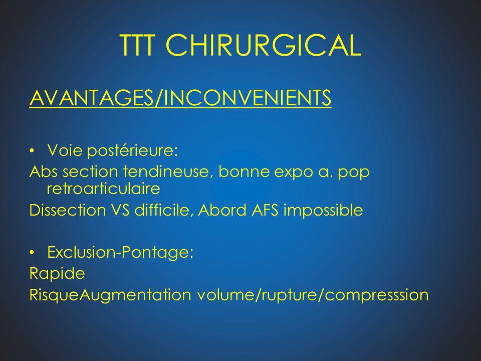 TTT CHIRURGICAL AVANTAGES/INCONVENIENTS Voie postérieure: Abs section tendineuse, bonne expo a. pop retroarticulaire Dissection VS difficile, Abord AF