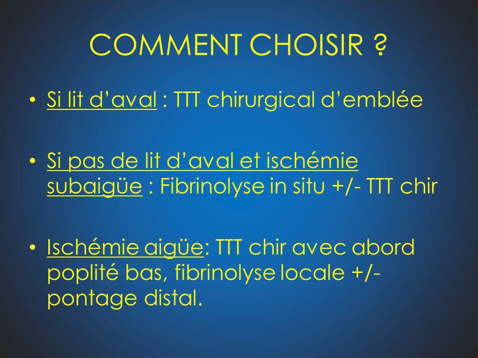 COMMENT CHOISIR ? Si lit daval : TTT chirurgical demblée Si pas de lit daval et ischémie subaigüe : Fibrinolyse in situ +/- TTT chir Ischémie aigüe: T