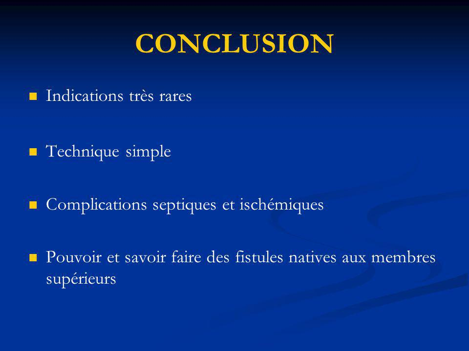 CONCLUSION Indications très rares Technique simple Complications septiques et ischémiques Pouvoir et savoir faire des fistules natives aux membres sup