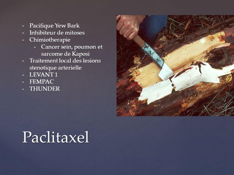 Paclitaxel -Pacifique Yew Bark -Inhibiteur de mitoses -Chimiotherapie -Cancer sein, poumon et sarcome de Kaposi -Traitement local des lesions stenotiq