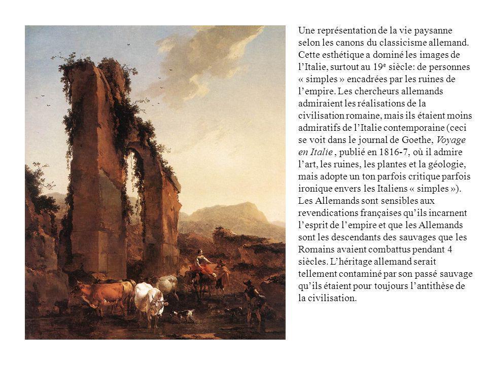 Une représentation de la vie paysanne selon les canons du classicisme allemand. Cette esthétique a dominé les images de lItalie, surtout au 19 e siècl