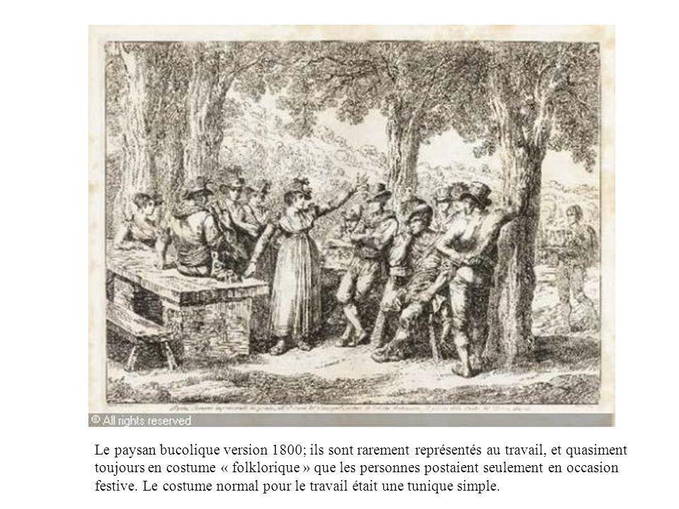 Le paysan bucolique version 1800; ils sont rarement représentés au travail, et quasiment toujours en costume « folklorique » que les personnes postaie