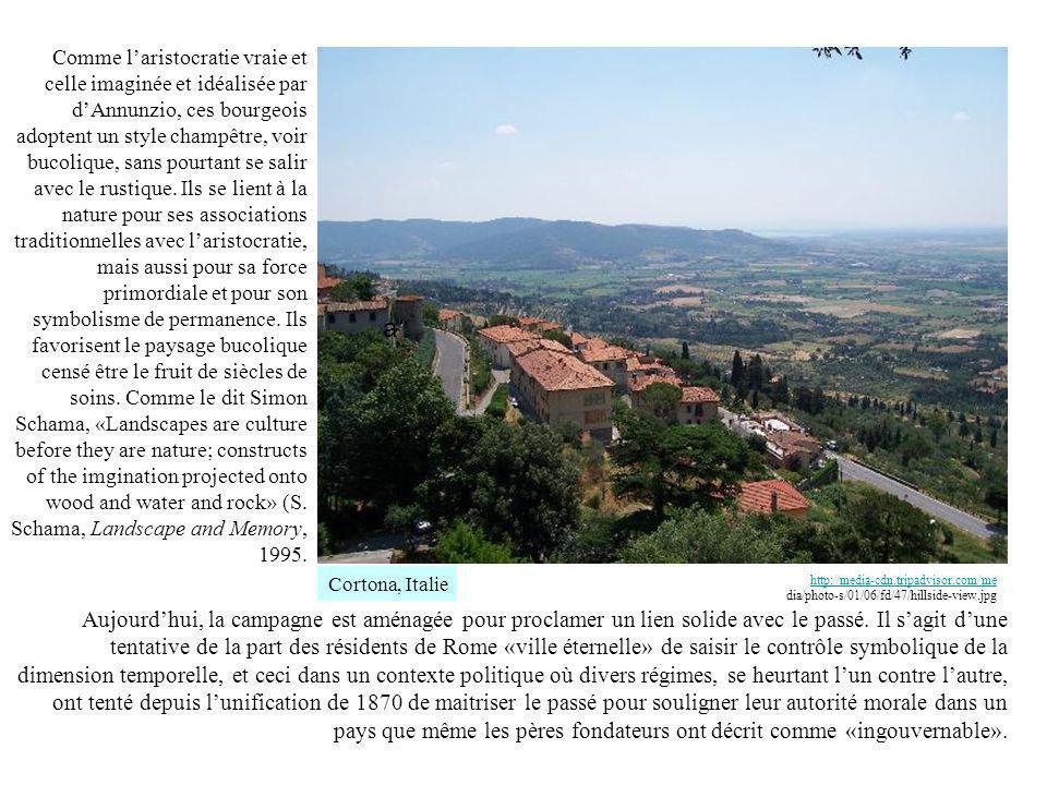 Comme laristocratie vraie et celle imaginée et idéalisée par dAnnunzio, ces bourgeois adoptent un style champêtre, voir bucolique, sans pourtant se salir avec le rustique.