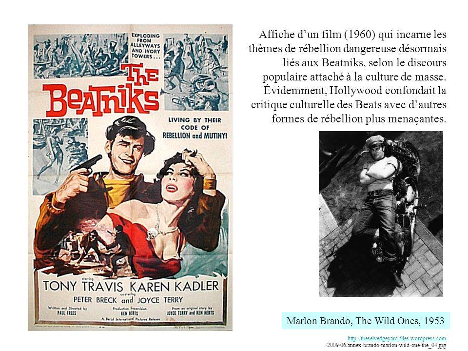 Affiche dun film (1960) qui incarne les thèmes de rébellion dangereuse désormais liés aux Beatniks, selon le discours populaire attaché à la culture de masse.