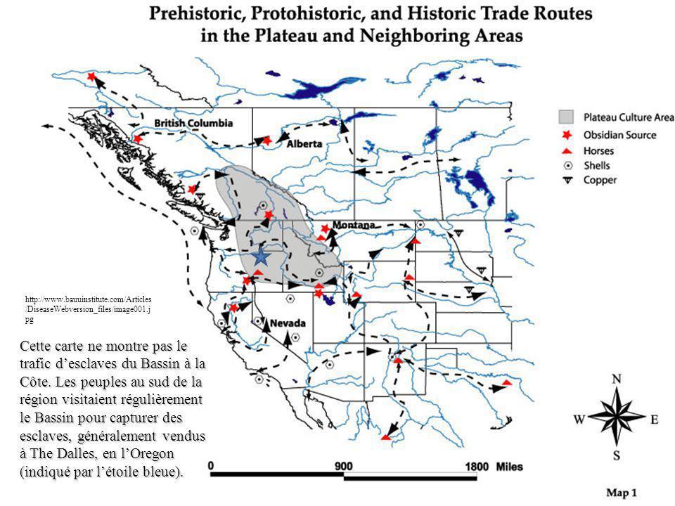 Cette carte ne montre pas le trafic desclaves du Bassin à la Côte. Les peuples au sud de la région visitaient régulièrement le Bassin pour capturer de
