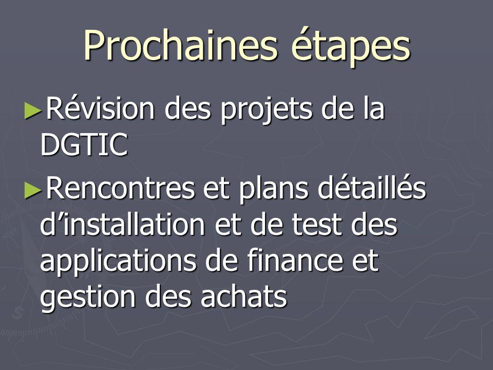 Prochaines étapes Révision des projets de la DGTIC Révision des projets de la DGTIC Rencontres et plans détaillés dinstallation et de test des applications de finance et gestion des achats Rencontres et plans détaillés dinstallation et de test des applications de finance et gestion des achats
