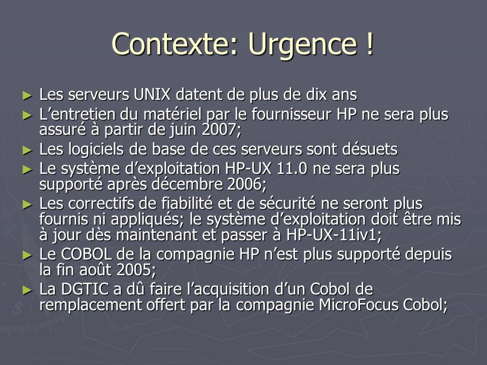Contexte: Urgence ! Les serveurs UNIX datent de plus de dix ans Les serveurs UNIX datent de plus de dix ans Lentretien du matériel par le fournisseur