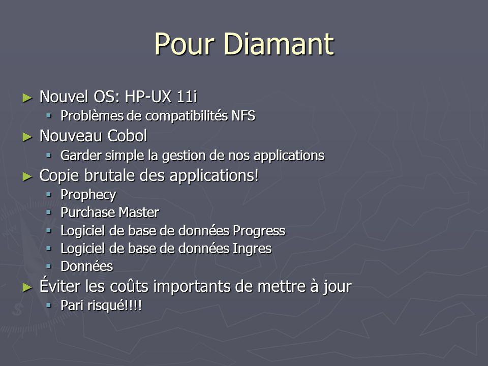 Pour Diamant Nouvel OS: HP-UX 11i Nouvel OS: HP-UX 11i Problèmes de compatibilités NFS Problèmes de compatibilités NFS Nouveau Cobol Nouveau Cobol Garder simple la gestion de nos applications Garder simple la gestion de nos applications Copie brutale des applications.