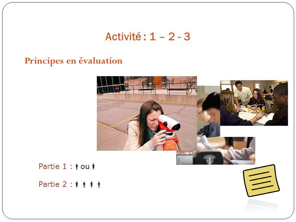 Activité : 1 – 2 - 3 Principes en évaluation Partie 1 : ou Partie 2 :