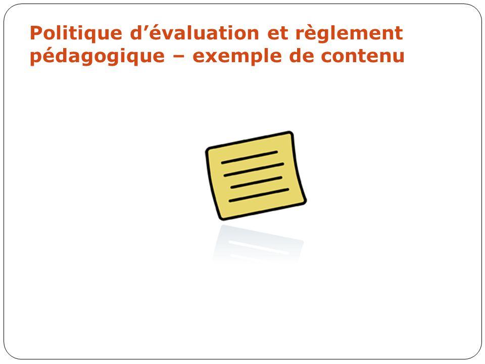Politique dévaluation et règlement pédagogique – exemple de contenu