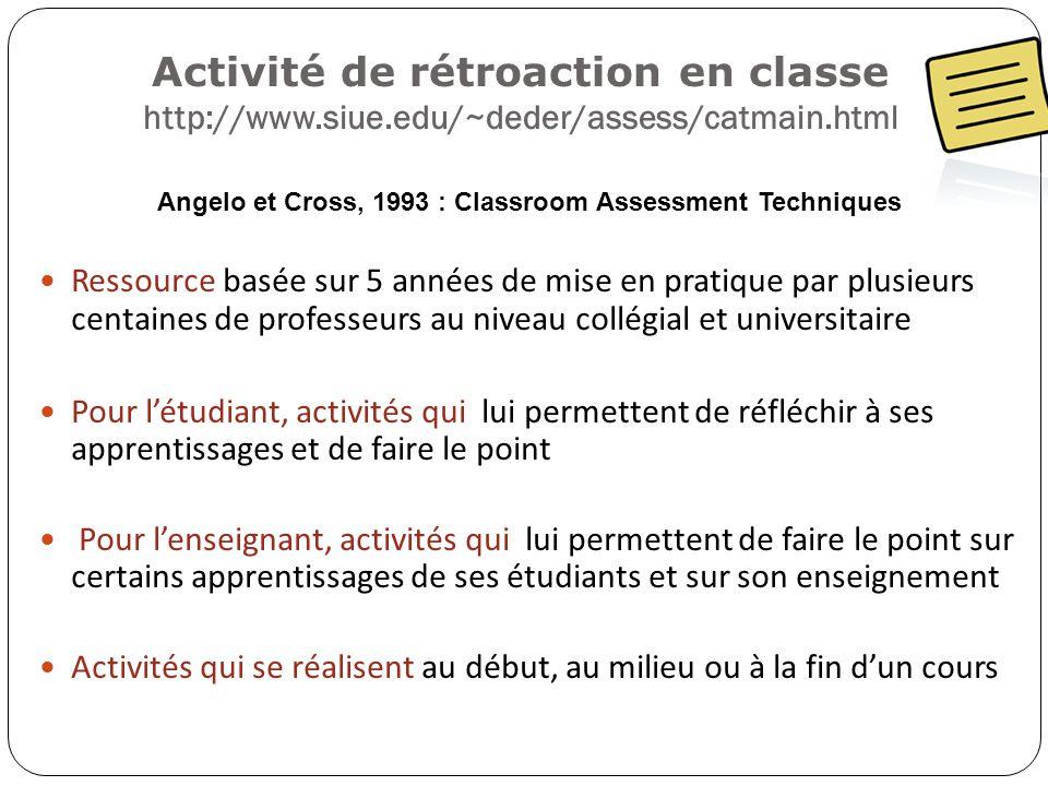 Activité de rétroaction en classe http://www.siue.edu/~deder/assess/catmain.html Angelo et Cross, 1993 : Classroom Assessment Techniques Ressource bas