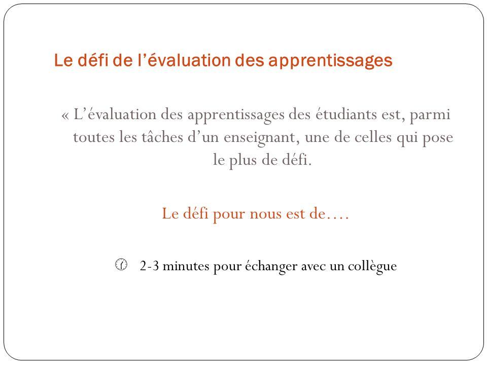 Le défi de lévaluation des apprentissages « Lévaluation des apprentissages des étudiants est, parmi toutes les tâches dun enseignant, une de celles qu