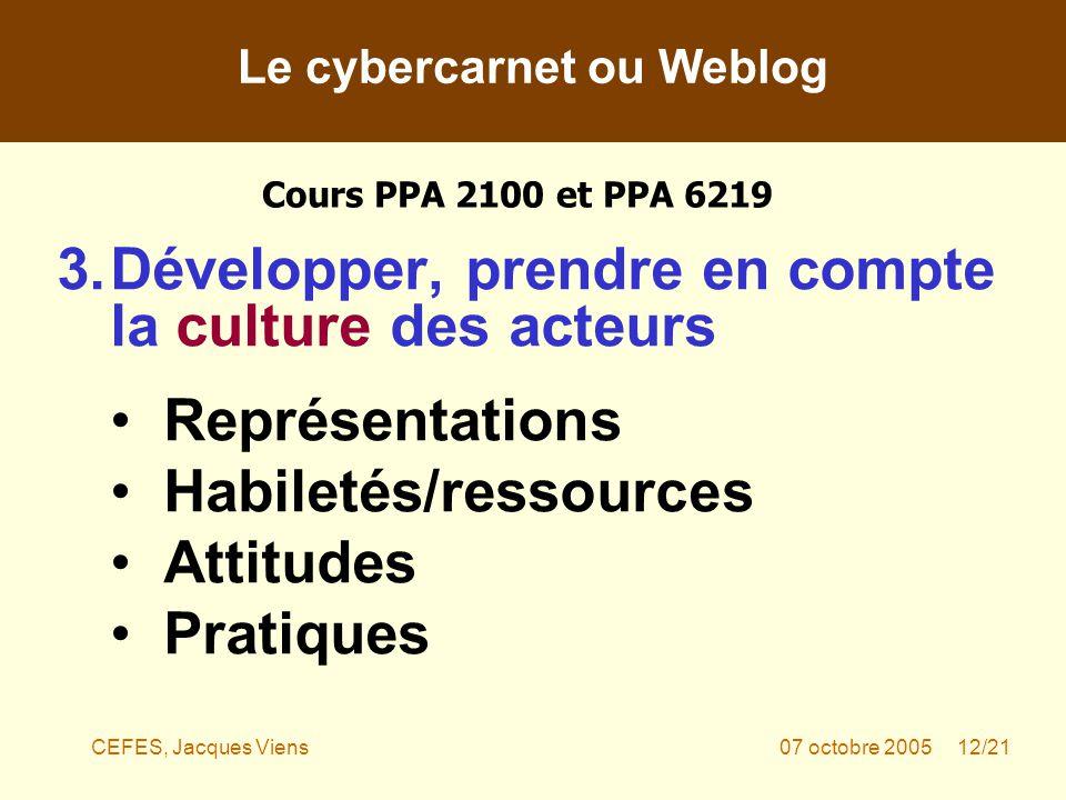 CEFES, Jacques Viens07 octobre 2005 12/21 3.Développer, prendre en compte la culture des acteurs Représentations Habiletés/ressources Attitudes Pratiques Le cybercarnet ou Weblog Cours PPA 2100 et PPA 6219