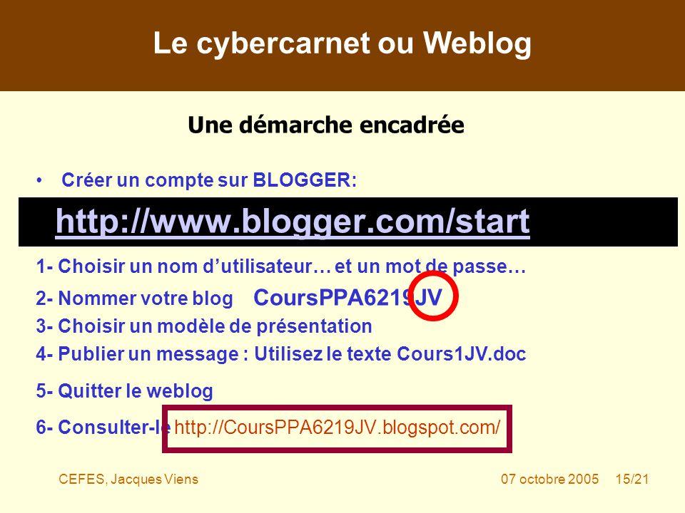 CEFES, Jacques Viens07 octobre 2005 15/21 Créer un compte sur BLOGGER: http://www.blogger.com/start 1- Choisir un nom dutilisateur… et un mot de passe… 2- Nommer votre blog CoursPPA6219JV 3- Choisir un modèle de présentation 4- Publier un message : Utilisez le texte Cours1JV.doc 5- Quitter le weblog 6- Consulter-le http://CoursPPA6219JV.blogspot.com/ Le cybercarnet ou Weblog Une démarche encadrée