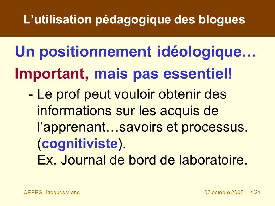 CEFES, Jacques Viens07 octobre 2005 4/21 Un positionnement idéologique… Important, mais pas essentiel.