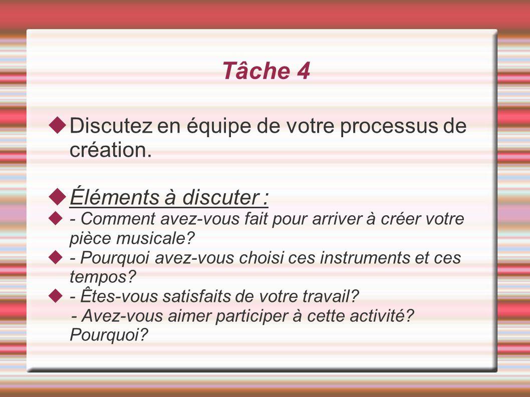 Tâche 4 Discutez en équipe de votre processus de création. Éléments à discuter : - Comment avez-vous fait pour arriver à créer votre pièce musicale? -