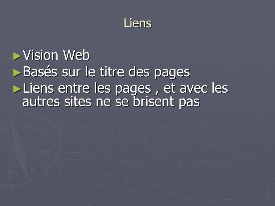 Liens Vision Web Vision Web Basés sur le titre des pages Basés sur le titre des pages Liens entre les pages, et avec les autres sites ne se brisent pa