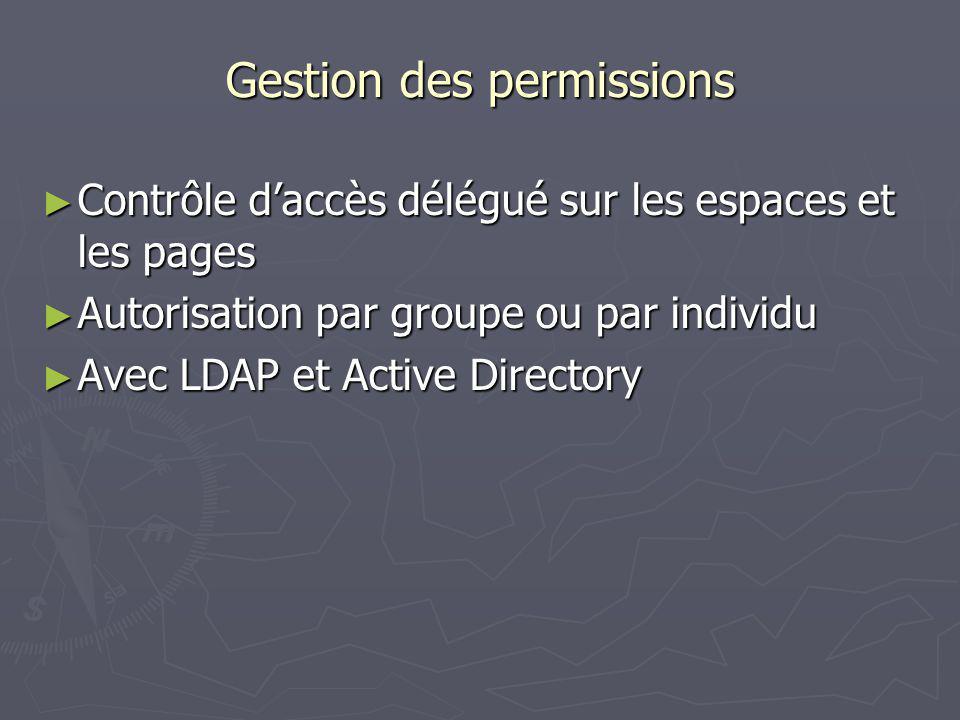Gestion des permissions Contrôle daccès délégué sur les espaces et les pages Contrôle daccès délégué sur les espaces et les pages Autorisation par groupe ou par individu Autorisation par groupe ou par individu Avec LDAP et Active Directory Avec LDAP et Active Directory