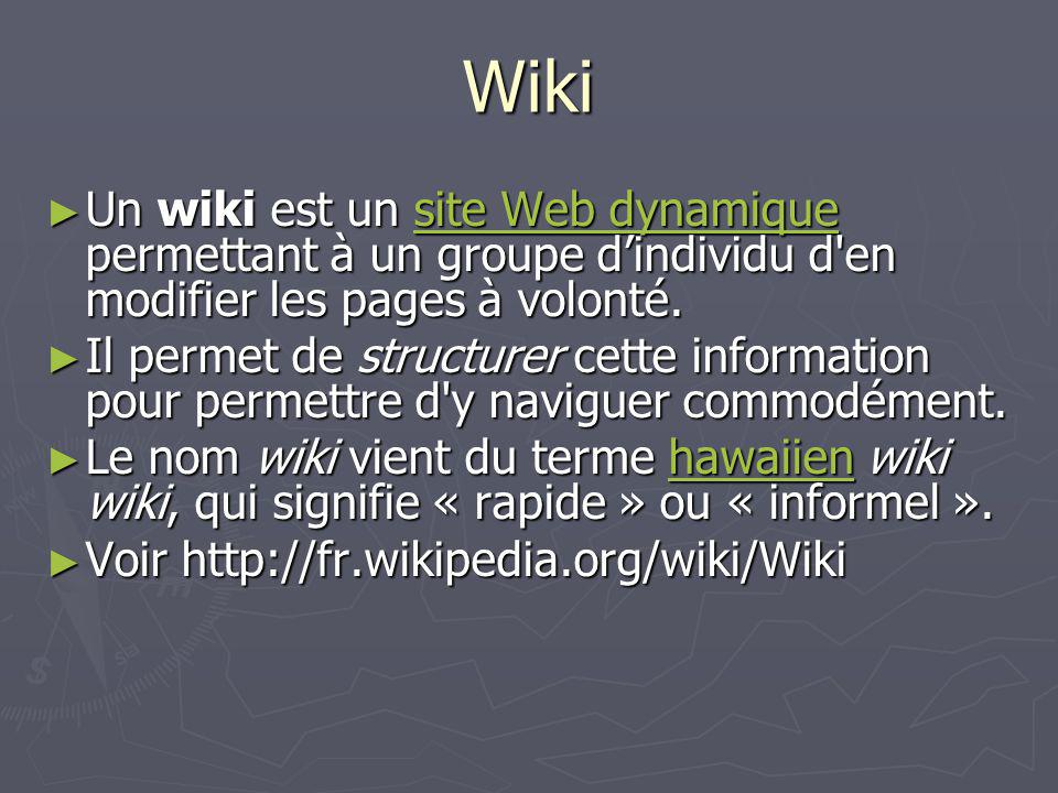 Wiki Un wiki est un site Web dynamique permettant à un groupe dindividu d'en modifier les pages à volonté. Un wiki est un site Web dynamique permettan