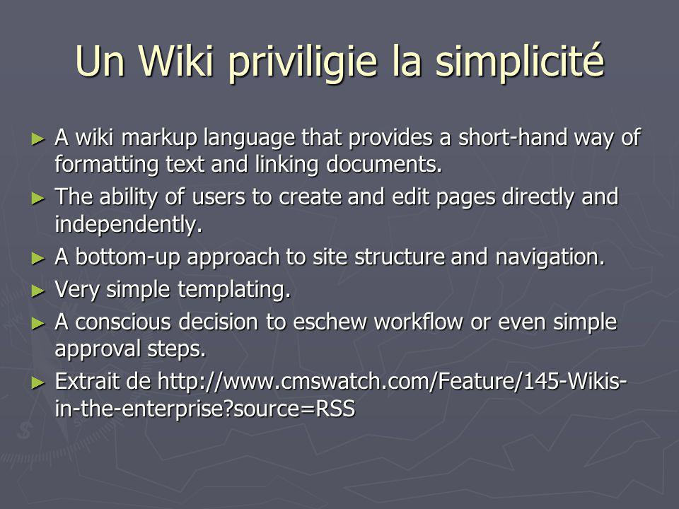 Wiki dentreprise Infoworld en 2004 Infoworld en 2004 Year of the enterprise Wiki Year of the enterprise Wiki Contrary to their reputation, Wikis are content management systems that can be managed.