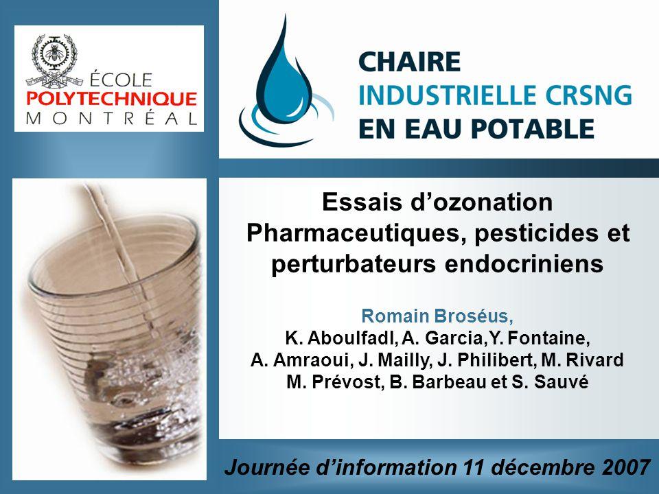 Essais dozonation Pharmaceutiques, pesticides et perturbateurs endocriniens Romain Broséus, K. Aboulfadl, A. Garcia,Y. Fontaine, A. Amraoui, J. Mailly
