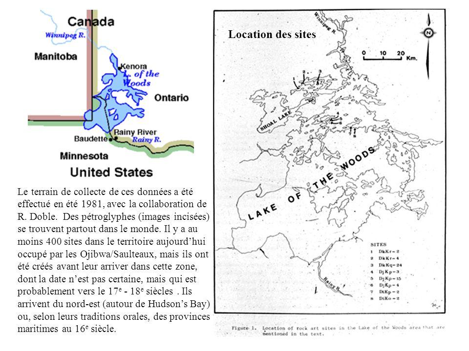 Location des sites Le terrain de collecte de ces données a été effectué en été 1981, avec la collaboration de R. Doble. Des pétroglyphes (images incis
