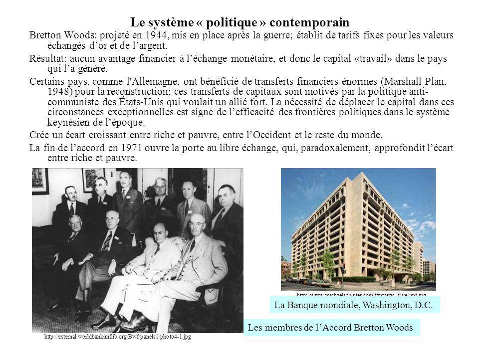 Le système « politique » contemporain Bretton Woods: projeté en 1944, mis en place après la guerre; établit de tarifs fixes pour les valeurs échangés
