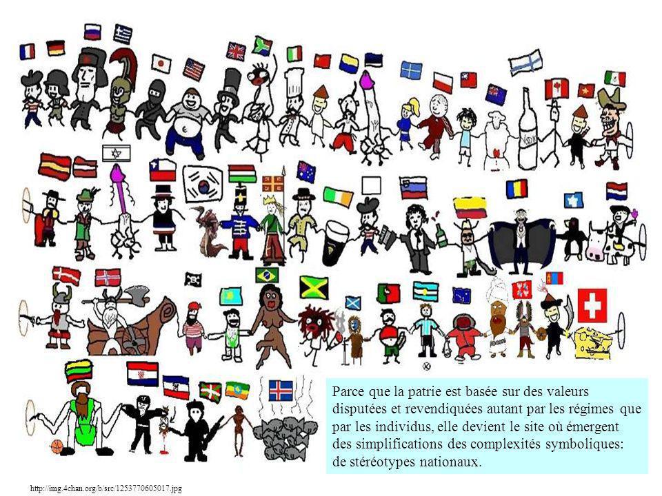 http://img.4chan.org/b/src/1253770605017.jpg Parce que la patrie est basée sur des valeurs disputées et revendiquées autant par les régimes que par le