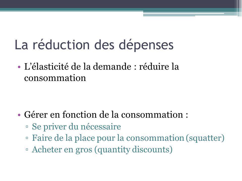 La réduction des dépenses Lélasticité de la demande : réduire la consommation Gérer en fonction de la consommation : Se priver du nécessaire Faire de