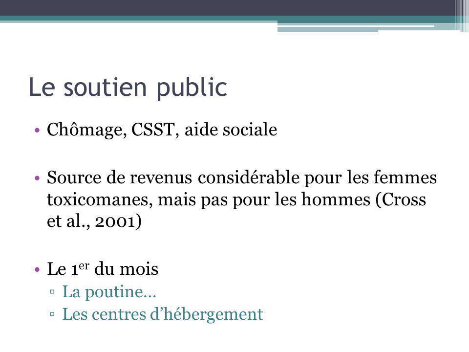 Le soutien public Chômage, CSST, aide sociale Source de revenus considérable pour les femmes toxicomanes, mais pas pour les hommes (Cross et al., 2001