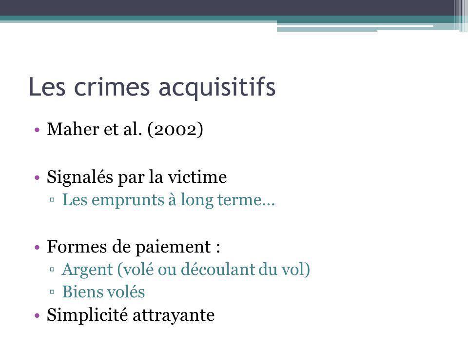 Les crimes acquisitifs Maher et al. (2002) Signalés par la victime Les emprunts à long terme… Formes de paiement : Argent (volé ou découlant du vol) B