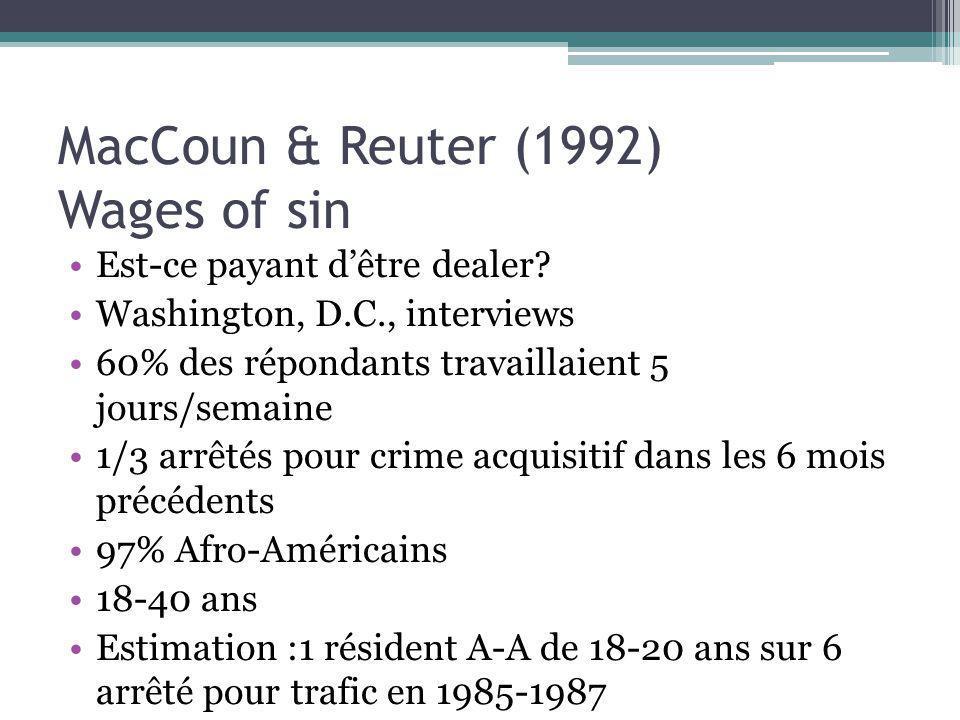 MacCoun & Reuter (1992) Wages of sin Est-ce payant dêtre dealer? Washington, D.C., interviews 60% des répondants travaillaient 5 jours/semaine 1/3 arr