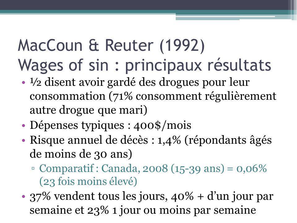 MacCoun & Reuter (1992) Wages of sin : principaux résultats ½ disent avoir gardé des drogues pour leur consommation (71% consomment régulièrement autr