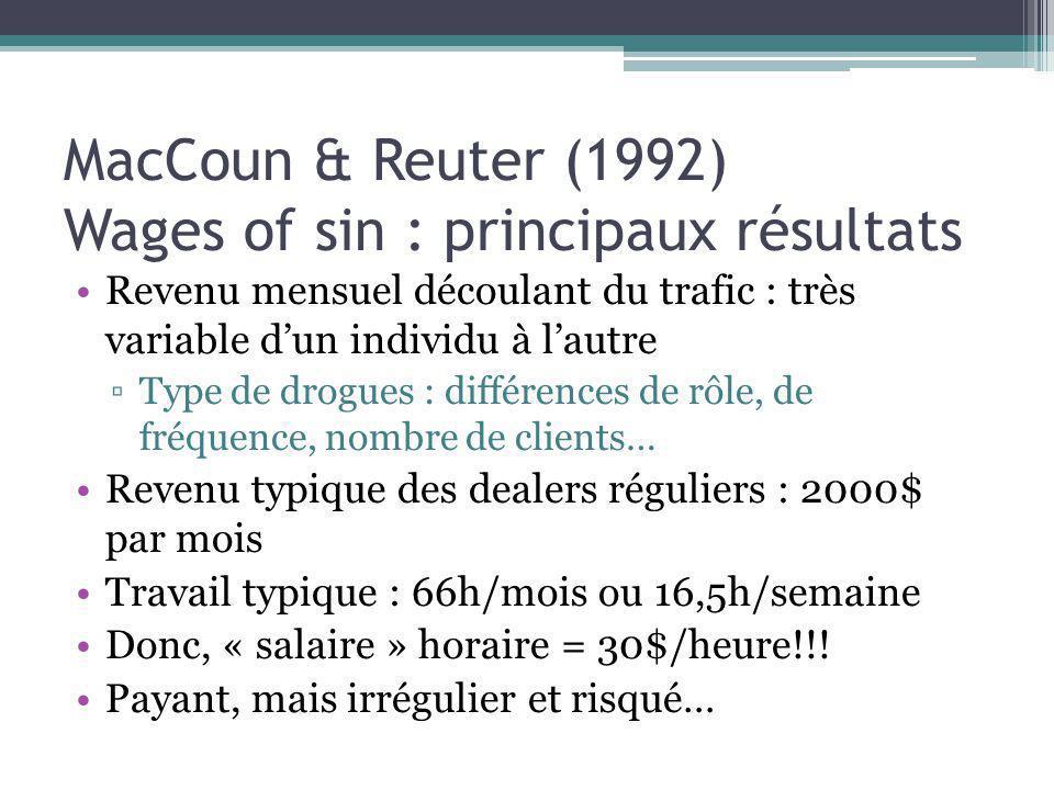 MacCoun & Reuter (1992) Wages of sin : principaux résultats Revenu mensuel découlant du trafic : très variable dun individu à lautre Type de drogues :