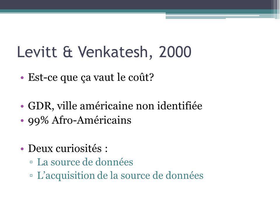 Levitt & Venkatesh, 2000 Est-ce que ça vaut le coût? GDR, ville américaine non identifiée 99% Afro-Américains Deux curiosités : La source de données L