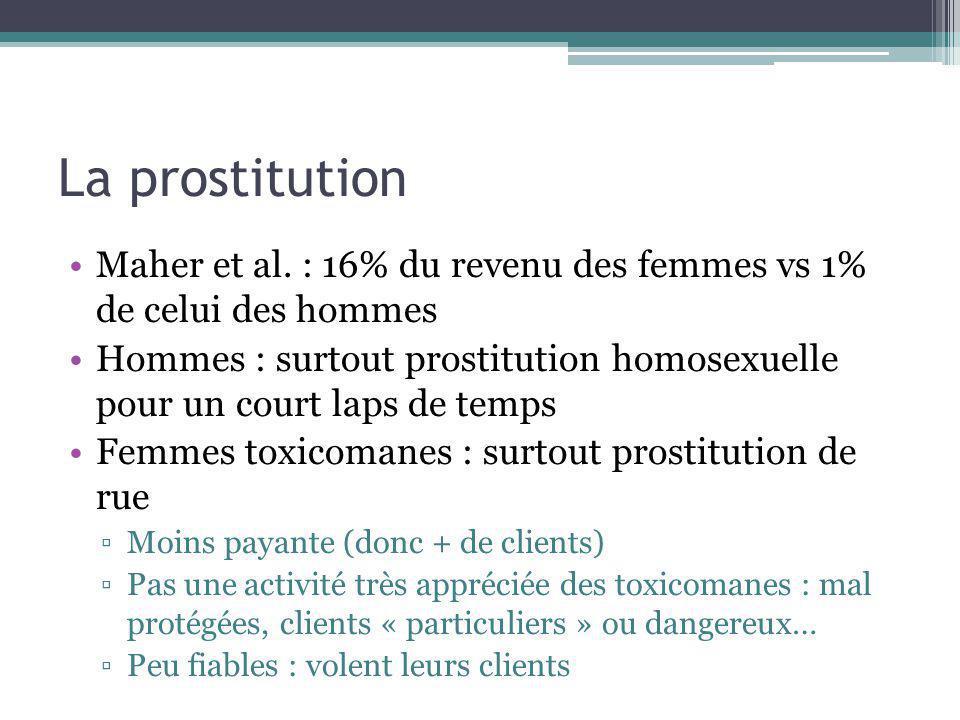 La prostitution Maher et al. : 16% du revenu des femmes vs 1% de celui des hommes Hommes : surtout prostitution homosexuelle pour un court laps de tem