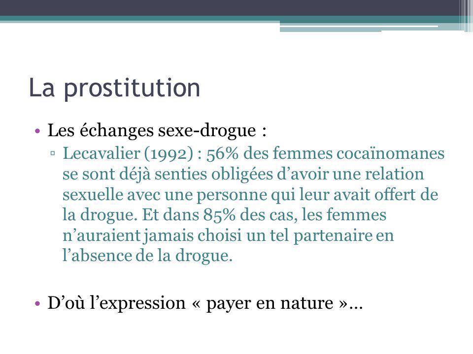 La prostitution Les échanges sexe-drogue : Lecavalier (1992) : 56% des femmes cocaïnomanes se sont déjà senties obligées davoir une relation sexuelle