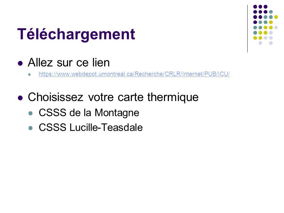 Téléchargement Allez sur ce lien https://www.webdepot.umontreal.ca/Recherche/CRLR/Internet/PUB/ICU/ Choisissez votre carte thermique CSSS de la Montag