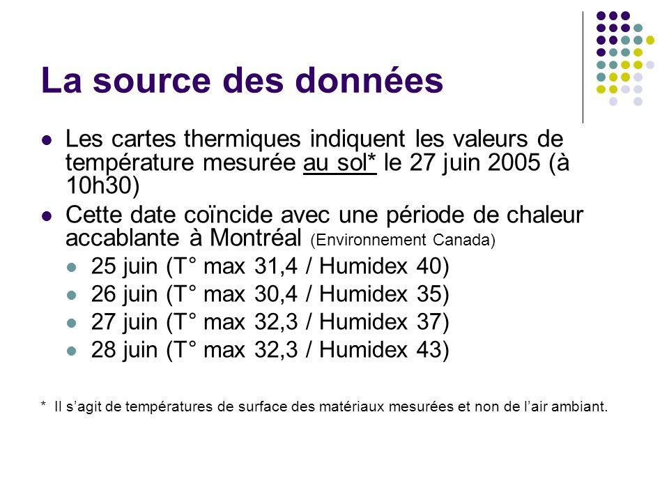 La source des données Les cartes thermiques indiquent les valeurs de température mesurée au sol* le 27 juin 2005 (à 10h30) Cette date coïncide avec un