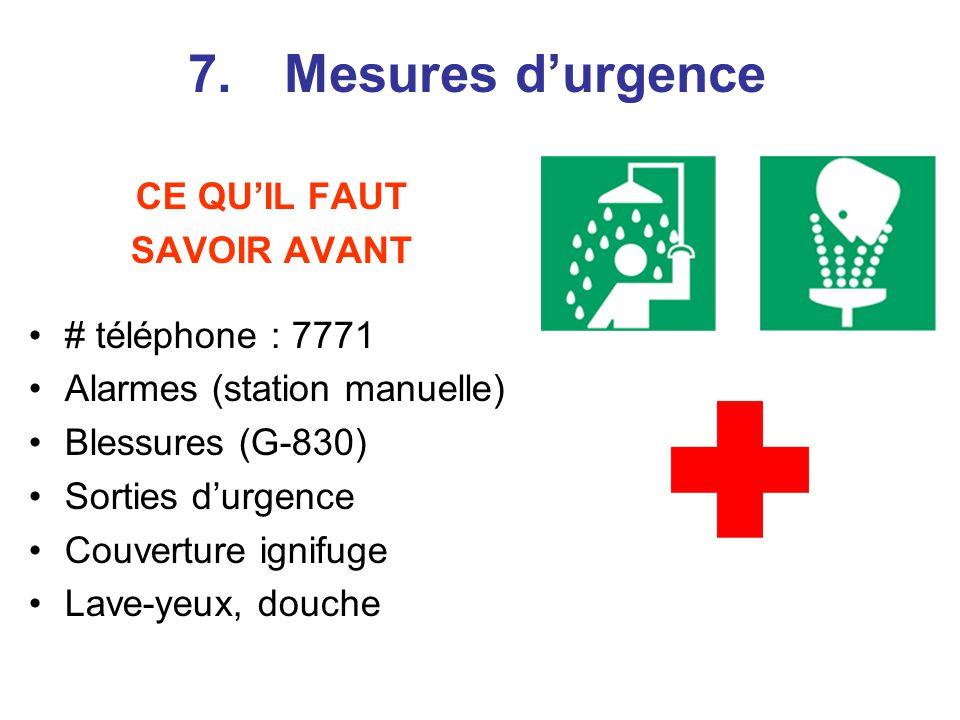 CE QUIL FAUT SAVOIR AVANT # téléphone : 7771 Alarmes (station manuelle) Blessures (G-830) Sorties durgence Couverture ignifuge Lave-yeux, douche 7.Mesures durgence