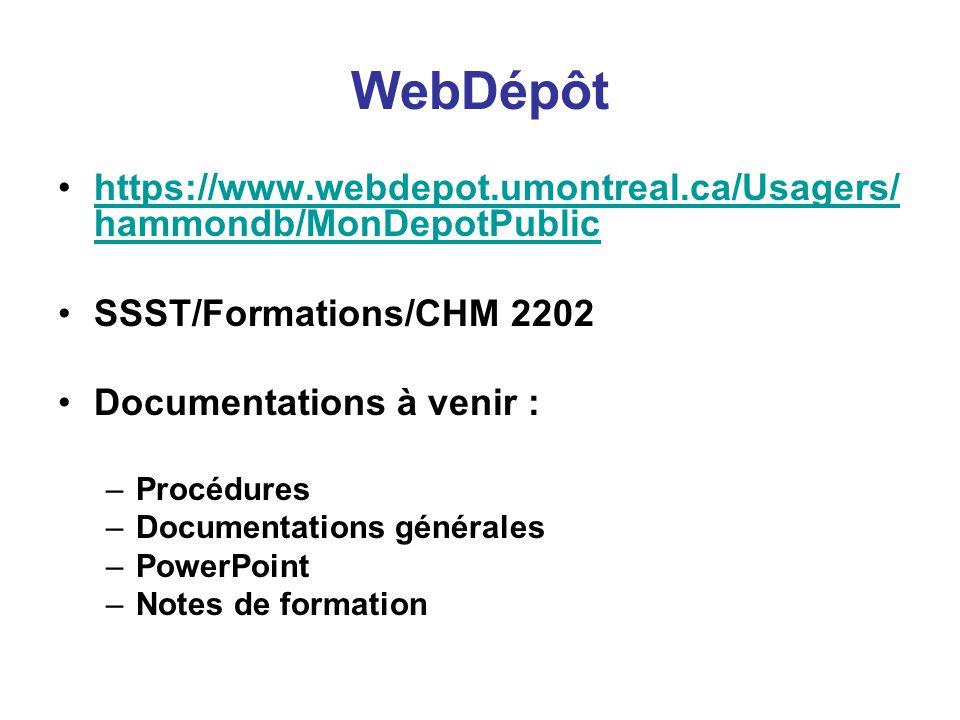 WebDépôt https://www.webdepot.umontreal.ca/Usagers/ hammondb/MonDepotPublichttps://www.webdepot.umontreal.ca/Usagers/ hammondb/MonDepotPublic SSST/Formations/CHM 2202 Documentations à venir : –Procédures –Documentations générales –PowerPoint –Notes de formation