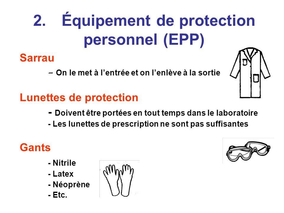 2.Équipement de protection personnel (EPP) Sarrau - On le met à lentrée et on lenlève à la sortie Lunettes de protection - Doivent être portées en tout temps dans le laboratoire - Les lunettes de prescription ne sont pas suffisantes Gants - Nitrile - Latex - Néoprène - Etc.