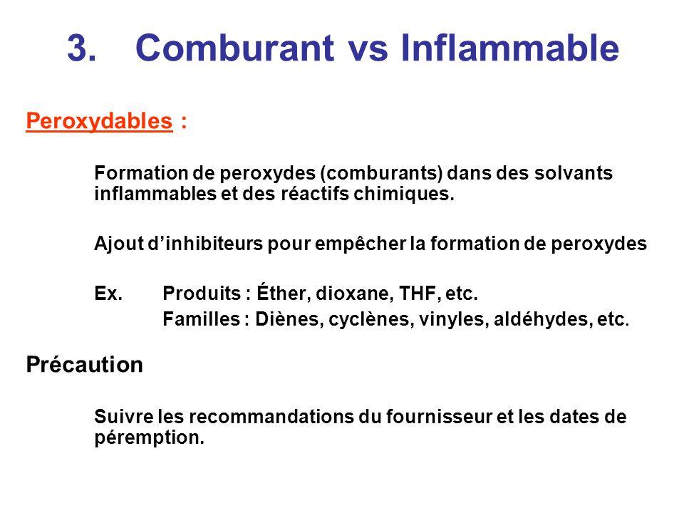 Peroxydables : Formation de peroxydes (comburants) dans des solvants inflammables et des réactifs chimiques.