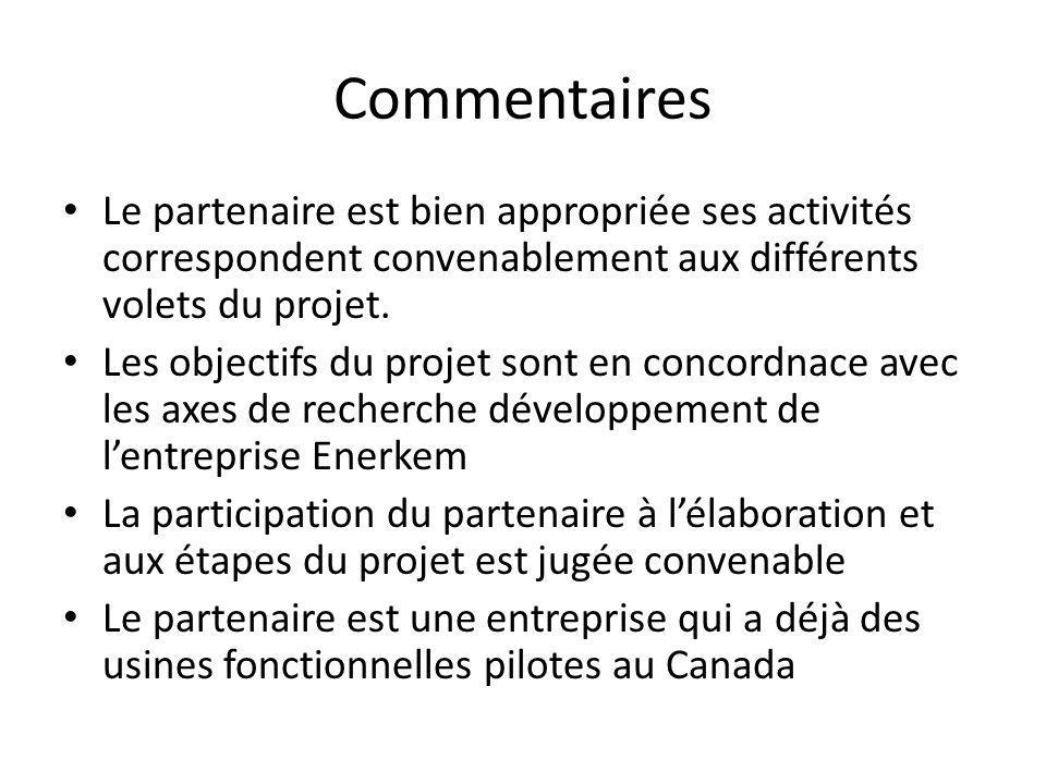 Commentaires Le partenaire est bien appropriée ses activités correspondent convenablement aux différents volets du projet.